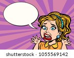 woman in panic  emotion and... | Shutterstock .eps vector #1055569142