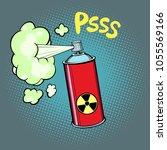 radioactive waste gas. comic... | Shutterstock .eps vector #1055569166