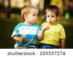 Little Boys Playing Bubbles - Fine Art prints