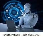 3d rendering robot working with ... | Shutterstock . vector #1055582642