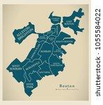 modern city map   boston... | Shutterstock .eps vector #1055584022
