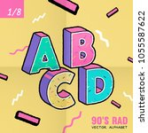 the 90's rad. 90's style vector ... | Shutterstock .eps vector #1055587622