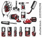 vector set with graphic nail... | Shutterstock .eps vector #1055590298