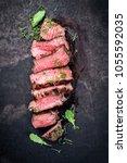 barbecue wagyu point steak... | Shutterstock . vector #1055592035
