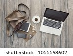 hipster bag on a desktop with... | Shutterstock . vector #1055598602