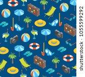 beach summer rest seamless... | Shutterstock .eps vector #1055599292