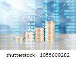 coin stacks   business money... | Shutterstock . vector #1055600282
