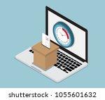 online vote concept laptop with ... | Shutterstock .eps vector #1055601632