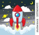 rocket launch and smoke  startup | Shutterstock .eps vector #1055604095