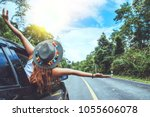 asian women travel relax in the ... | Shutterstock . vector #1055606078