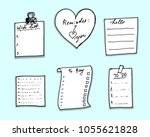 hand drawn doodle note papers... | Shutterstock .eps vector #1055621828
