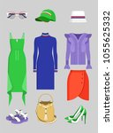 summer mode set of clothes and... | Shutterstock .eps vector #1055625332
