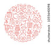 circle with love symbols in... | Shutterstock .eps vector #1055640098