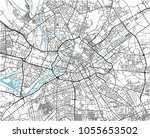 black and white vector city map ... | Shutterstock .eps vector #1055653502