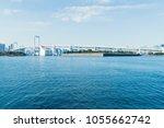 big bridge cross the blue sea... | Shutterstock . vector #1055662742