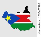 map of south sudan with flag ... | Shutterstock .eps vector #1055667986