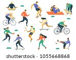 people flat fitness set with... | Shutterstock .eps vector #1055668868