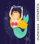 cute cartoon mermaid with...   Shutterstock .eps vector #1055689376