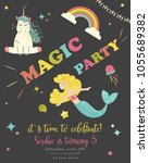 birthday party card with... | Shutterstock .eps vector #1055689382
