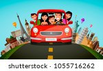 happy family rides in car on... | Shutterstock .eps vector #1055716262