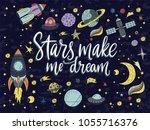 stars make me dream. handdrawn...   Shutterstock .eps vector #1055716376