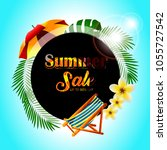 vector summer sale flyer design ... | Shutterstock .eps vector #1055727542