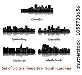 set of 5 city silhouette in...   Shutterstock .eps vector #1055733656