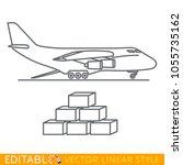 cargo plane icon in flat linear ...   Shutterstock .eps vector #1055735162