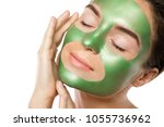 woman with green peel off mask... | Shutterstock . vector #1055736962