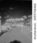 infrared photo of the promenade at Seaside Oregon