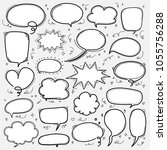 hand drawn bubbles set. doodle... | Shutterstock .eps vector #1055756288