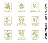 vector set of herbal organic... | Shutterstock .eps vector #1055762096