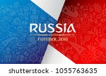 russian red wallpaper cup  blue ... | Shutterstock .eps vector #1055763635