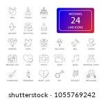 line icons set. wedding pack.... | Shutterstock .eps vector #1055769242