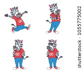 zebra characters for logo and... | Shutterstock .eps vector #1055775002