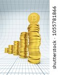 stack of bitcoin coins  3d...   Shutterstock . vector #1055781866