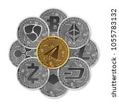 set of gold and silver crypto... | Shutterstock .eps vector #1055783132