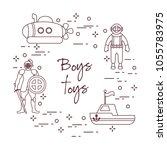 children's toys for the boy ... | Shutterstock .eps vector #1055783975