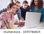young multiracial business... | Shutterstock . vector #1055786825