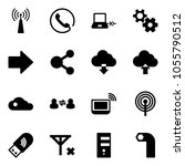 solid vector icon set   antenna ... | Shutterstock .eps vector #1055790512