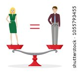 man and woman on balanced scale.... | Shutterstock .eps vector #1055793455
