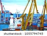 port cargo crane  ship and... | Shutterstock . vector #1055794745