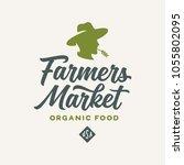 farmers market emblem label... | Shutterstock .eps vector #1055802095
