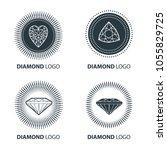 vector set of black diamond... | Shutterstock .eps vector #1055829725