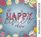 colorful happy easter greeting... | Shutterstock .eps vector #1055831318
