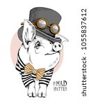 pig in a in a striped cardigan  ... | Shutterstock .eps vector #1055837612