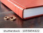 brown leather covered wedding... | Shutterstock . vector #1055854322