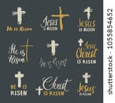 he is risen  lettering set... | Shutterstock .eps vector #1055854652