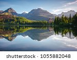 beautiful mountain lake in... | Shutterstock . vector #1055882048
