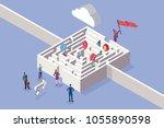 business women and maze concept.... | Shutterstock .eps vector #1055890598